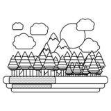 Απομονωμένο σχέδιο δασών και βουνών Στοκ Εικόνα