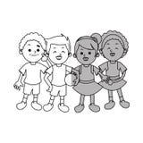 Απομονωμένο σχέδιο κινούμενων σχεδίων παιδιών Στοκ Φωτογραφίες