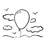 Απομονωμένο σχέδιο πουλιών και μπαλονιών σύννεφων Στοκ Εικόνες