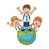Απομονωμένο σχέδιο σχολικών παιδιών Στοκ εικόνες με δικαίωμα ελεύθερης χρήσης