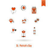 Απομονωμένο σύνολο εικονιδίων Αγίου Patricks ημέρα Στοκ εικόνες με δικαίωμα ελεύθερης χρήσης