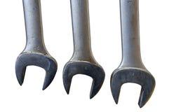 απομονωμένο τρία χρησιμοποιημένο γαλλικό κλειδί Στοκ Φωτογραφία