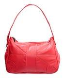 απομονωμένο τσάντα δέρμα πέρα από τις κόκκινες λευκές γυναίκες Στοκ Εικόνες