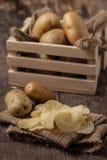 απομονωμένο τσιπ λευκό πατατών Στοκ Φωτογραφία