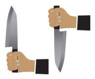 απομονωμένο χέρι λευκό μαχαιριών διανυσματική απεικόνιση