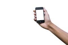 Απομονωμένο χέρι που κρατά το έξυπνο τηλέφωνο Στοκ εικόνες με δικαίωμα ελεύθερης χρήσης