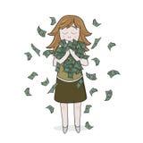 Απομονωμένο χαμογελώντας κορίτσι με τα χρήματα Στοκ Φωτογραφίες