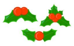Απομονωμένο Χριστούγεννα εικονίδιο της Holly Ύφος κινούμενων σχεδίων Διανυσματική απεικόνιση για Στοκ Φωτογραφία