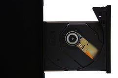Απομονωμένο lap-top με τη φορτωμένη κίνηση DVD στοκ εικόνες