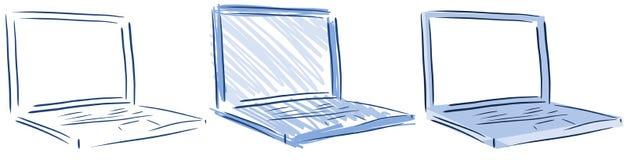 Απομονωμένο lap-top υπολογιστών στους μπλε τόνους Στοκ Φωτογραφίες