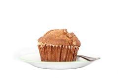 Απομονωμένο muffin καρυδιών σε ένα πιάτο Στοκ Εικόνες