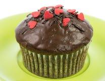 Απομονωμένο muffin σοκολάτας σε ένα πράσινο πιάτο Στοκ φωτογραφία με δικαίωμα ελεύθερης χρήσης