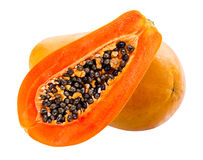 απομονωμένο papaya νωπών καρπών τροπικό λευκό Στοκ Φωτογραφίες