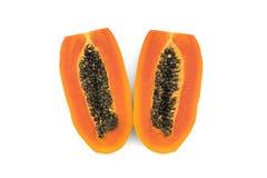 απομονωμένο papaya τεμάχισε τ&omicron Στοκ Φωτογραφίες