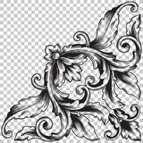 Απομονώστε τη διακόσμηση γωνιών στο μπαρόκ ύφος Στοκ φωτογραφία με δικαίωμα ελεύθερης χρήσης