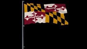 Απομονώστε τη σημαία Ηνωμένο Μέρυλαντ 4k prores μήκος σε πόδηα 4444 με τον άλφα ελεύθερη απεικόνιση δικαιώματος