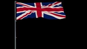 Απομονώστε τη σημαία της Μεγάλης Βρετανίας, μήκος σε πόδηα 4444 4k prores με την άλφα διαφάνεια απεικόνιση αποθεμάτων