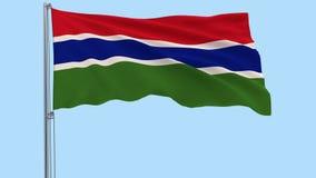 Απομονώστε το μεγάλο ύφασμα της Γκάμπιας σε ένα κοντάρι σημαίας που κυματίζει στον αέρα σε ένα διαφανές υπόβαθρο, τρισδιάστατη απ φιλμ μικρού μήκους