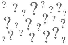 Απομόνωση ερωτηματικών σε ένα άσπρο υπόβαθρο στοκ εικόνα