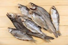 Αποξηραμένα ψάρια στον πίνακα Αλμυρά ξηρά ψάρια ποταμών σε ένα ελαφρύ ξύλινο υπόβαθρο Τοπ άποψη με το διάστημα αντιγράφων Στοκ εικόνα με δικαίωμα ελεύθερης χρήσης
