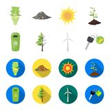 Απορρίματα μπορούν, ένα ασθενές δέντρο, ένας ανεμοστρόβιλος, ένα κλειδί σε ένα βιο αυτοκίνητο Εικονίδια βιο και συλλογής οικολογί Στοκ Εικόνες