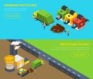 Απορρίματα που ανακυκλώνουν τα Isometric εμβλήματα διανυσματική απεικόνιση