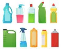 απορρυπαντικό μπουκαλιώ& Καθαρίζοντας προϊόντα προμηθειών, μπουκάλι χλωρίνης και πλαστικό διάνυσμα κινούμενων σχεδίων εμπορευματο απεικόνιση αποθεμάτων