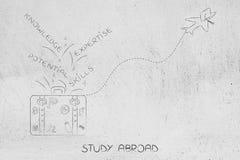 Αποσκευές μελέτης στο εξωτερικό με τους σχετικούς με τη γνώση τίτλους και airplan διανυσματική απεικόνιση