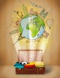 Αποσκευές με το ταξίδι γύρω από την έννοια παγκόσμιας απεικόνισης Στοκ Φωτογραφίες