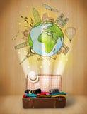 Αποσκευές με το ταξίδι γύρω από την έννοια παγκόσμιας απεικόνισης Στοκ εικόνες με δικαίωμα ελεύθερης χρήσης