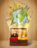 Αποσκευές με το ταξίδι γύρω από την έννοια παγκόσμιας απεικόνισης Στοκ φωτογραφίες με δικαίωμα ελεύθερης χρήσης