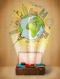 Αποσκευές με το ταξίδι γύρω από την έννοια παγκόσμιας απεικόνισης Στοκ Εικόνα