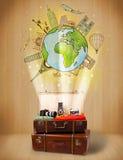 Αποσκευές με το ταξίδι γύρω από την έννοια παγκόσμιας απεικόνισης Στοκ φωτογραφία με δικαίωμα ελεύθερης χρήσης