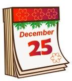 Αποσπάσιμο ημερολόγιο Χριστουγέννων Στο ημερολόγιο του ντεκόρ της 25ης Δεκεμβρίου και Χριστουγέννων διανυσματική απεικόνιση