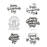 Αποσπάσματα συνόλου για την ευτυχή ημέρα παππούδων και γιαγιάδων! Στοκ Εικόνες