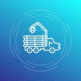 Αποστολέας, έμπορος ξυλείας, εικονίδιο γραμμών φορτηγών καταγραφής διανυσματική απεικόνιση