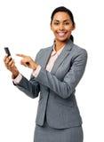 Αποστολή κειμενικών μηνυμάτων επιχειρηματιών στο έξυπνο τηλέφωνο Στοκ εικόνα με δικαίωμα ελεύθερης χρήσης