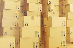 Αποστολή συσκευασίας, μεταφορά φορτίου και έννοια παράδοσης, κουτιά από χαρτόνι τρισδιάστατη απόδοση Στοκ φωτογραφία με δικαίωμα ελεύθερης χρήσης