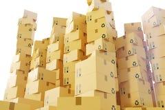 Αποστολή συσκευασίας, μεταφορά φορτίου και έννοια παράδοσης, κουτιά από χαρτόνι τρισδιάστατη απόδοση Στοκ Εικόνες