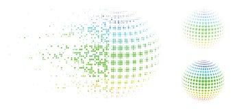 Αποσυνθέτοντας εικονίδιο αφαίρεσης επιφάνειας σφαιρών εικονοκυττάρου ημίτονο διαστιγμένο Ελεύθερη απεικόνιση δικαιώματος