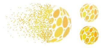 Αποσυνθέτοντας Pixelated ημίτονο κίτρινο εικονίδιο σφαιρών σημείων αφηρημένο Απεικόνιση αποθεμάτων