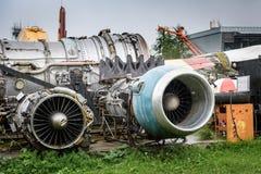 Αποσυντεθειμένες σπασμένες μηχανές αεροσκαφών Στοκ Φωτογραφίες
