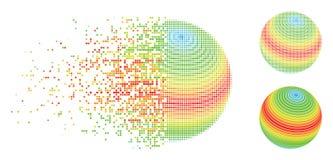 Αποσυντεθειμένο εικονίδιο λωρίδων φάσματος σφαιρών σημείων ημίτονο αφηρημένο Διανυσματική απεικόνιση