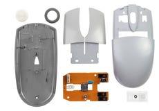 αποσυντεθειμένο ποντίκι υπολογιστών που απομονώνεται στο άσπρο υπόβαθρο Στοκ φωτογραφία με δικαίωμα ελεύθερης χρήσης