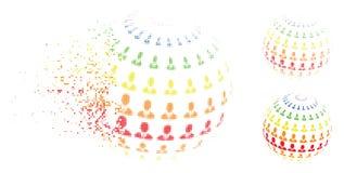 Αποσυντεθειμένο σημείων ημίτονο εικονίδιο σφαιρών επιχειρηματιών αφηρημένο Διανυσματική απεικόνιση