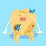 Αποσύνθεση δοντιών κινούμενων σχεδίων και βακτηρίδιο Στοκ φωτογραφία με δικαίωμα ελεύθερης χρήσης