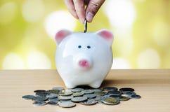 Αποταμίευση, αρσενικό χέρι που βάζει ένα νόμισμα στη piggy τράπεζα και τα χρήματα Στοκ Εικόνες