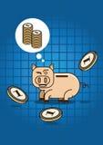 Αποταμίευση για τον πλούτο με το κιβώτιο χρημάτων χοίρων Στοκ εικόνα με δικαίωμα ελεύθερης χρήσης