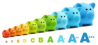 Αποταμίευση κλίμακας αποδοτικότητας ενεργειακής κατηγορίας της ζωηρόχρωμης piggy τράπεζας Στοκ φωτογραφίες με δικαίωμα ελεύθερης χρήσης