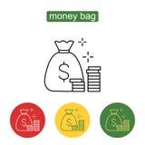 Αποταμίευση χρημάτων και σχέδιο εικονιδίων τσαντών χρημάτων απεικόνιση αποθεμάτων